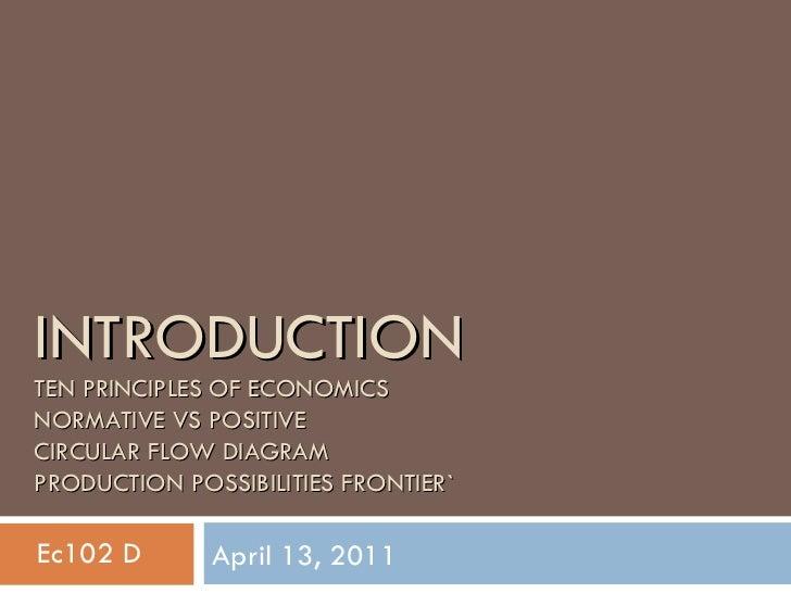 INTRODUCTION TEN PRINCIPLES OF ECONOMICS NORMATIVE VS POSITIVE CIRCULAR FLOW DIAGRAM PRODUCTION POSSIBILITIES FRONTIER` Ap...