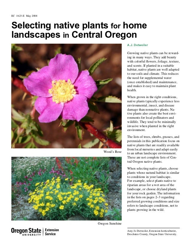 EC 1623-E May 2008Selecting native plants for homelandscapes in Central Oregon                                       A.J. ...