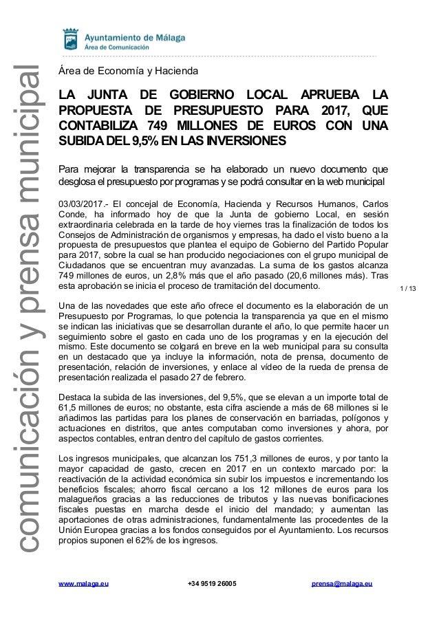 f2b11a70885a 1 / 13 comunicaciónyprensamunicipal Área de Economía y Hacienda LA JUNTA DE  GOBIERNO LOCAL APRUEBA LA ...