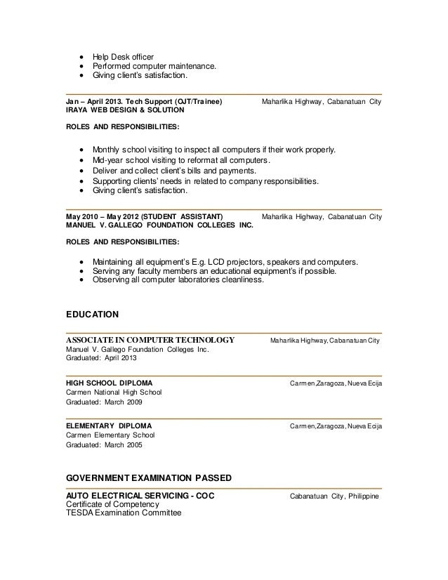 Resume For Ojt Computer Technician Frizzigame Sample Frizzigame  Computer Savvy Resume