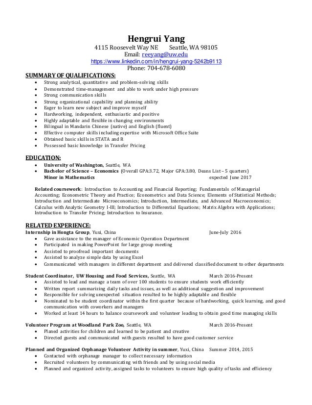 Reference Example For Resume Word  Resume Overall Search For Resumes Pdf with Free Microsoft Resume Templates Pdf  Resume Overall Hengrui Yang  Roosevelt Way Ne Seattle Wa   Email Reeyanguw Food Service Resumes Excel