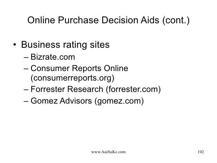 Online Purchase Decision Aids (cont.) <ul><li>Business rating sites </li></ul><ul><ul><li>Bizrate.com </li></ul></ul><ul><...