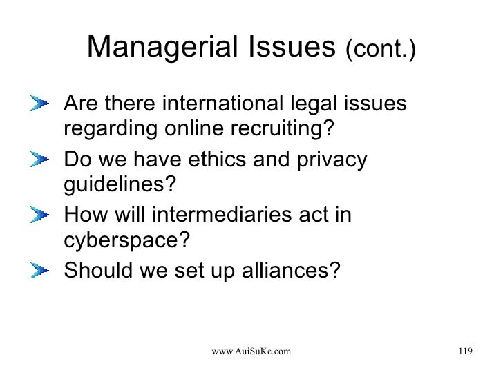 Managerial Issues  (cont.) <ul><li>Are there international legal issues regarding online recruiting? </li></ul><ul><li>Do ...