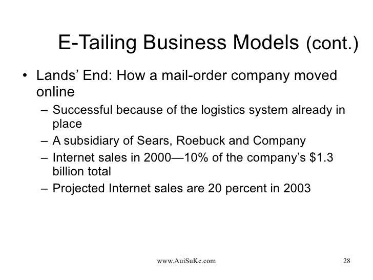 E-Tailing Business Models   (cont.) <ul><li>Lands' End: How a mail-order company moved online </li></ul><ul><ul><li>Succes...