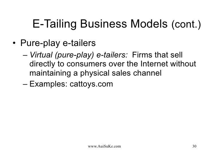 E-Tailing Business Models   (cont.) <ul><li>Pure-play e-tailers </li></ul><ul><ul><li>Virtual (pure-play) e-tailers:   Fir...