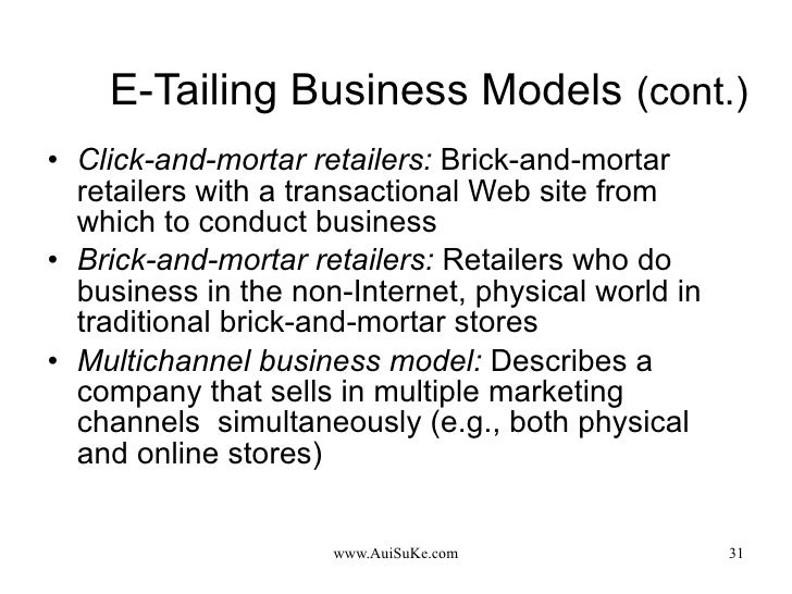 E-Tailing Business Models   (cont.) <ul><li>Click-and-mortar retailers:   Brick-and-mortar retailers with a transactional ...
