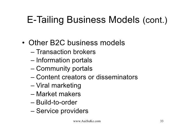 E-Tailing Business Models   (cont.) <ul><li>Other B2C business models </li></ul><ul><ul><li>Transaction brokers </li></ul>...