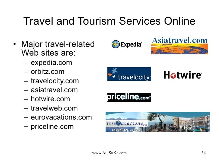 Travel and Tourism Services Online <ul><li>Major travel-related Web sites are: </li></ul><ul><ul><li>expedia.com </li></ul...