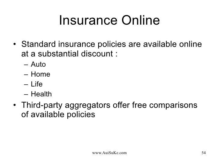 Insurance Online <ul><li>Standard insurance policies are available online at a substantial discount : </li></ul><ul><ul><l...