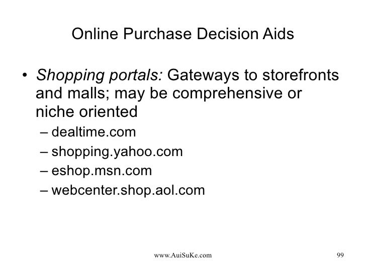 Online Purchase Decision Aids <ul><li>Shopping portals:   Gateways to storefronts and malls; may be comprehensive or niche...