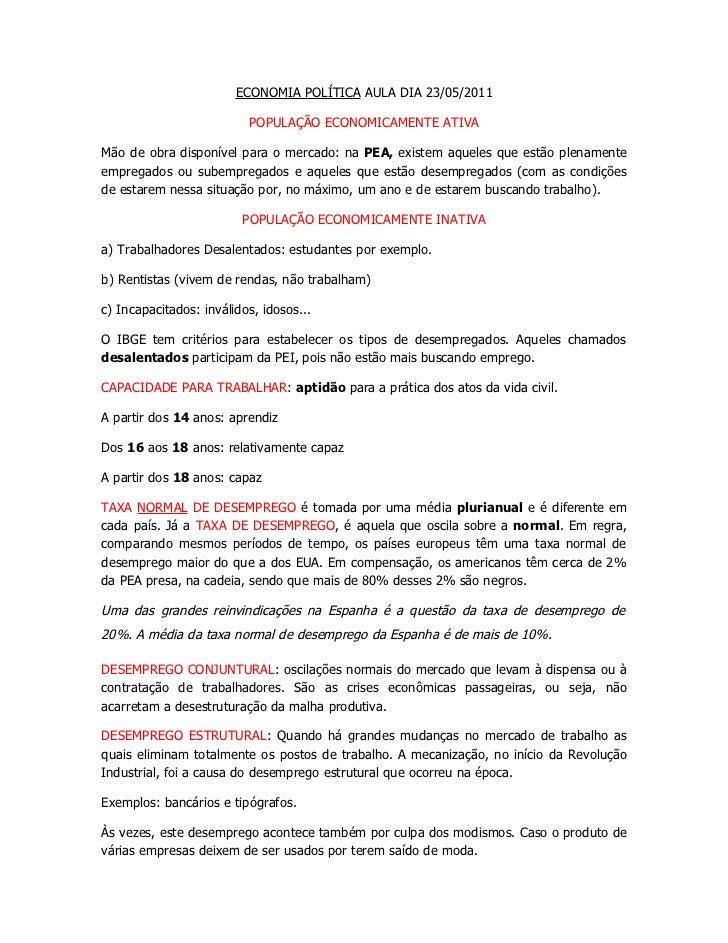 ECONOMIA POLÍTICA AULA DIA 23/05/2011                          POPULAÇÃO ECONOMICAMENTE ATIVAMão de obra disponível para o...