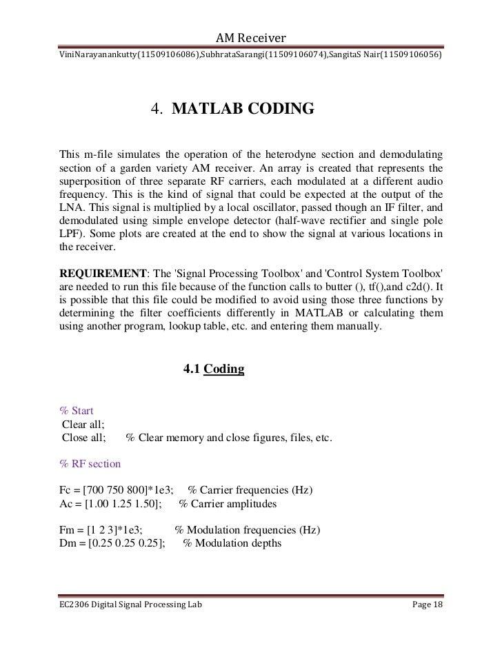 Ec2306 mini project report-matlab