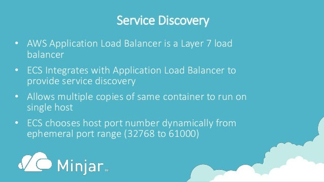 Service Discovery • AWS Application Load Balancer is a Layer 7 load balancer • ECS Integrates with Application Load Balanc...