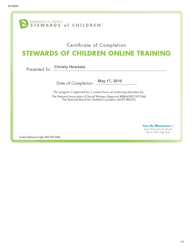 Nationally Certified Training Certificate Free Professional Resume