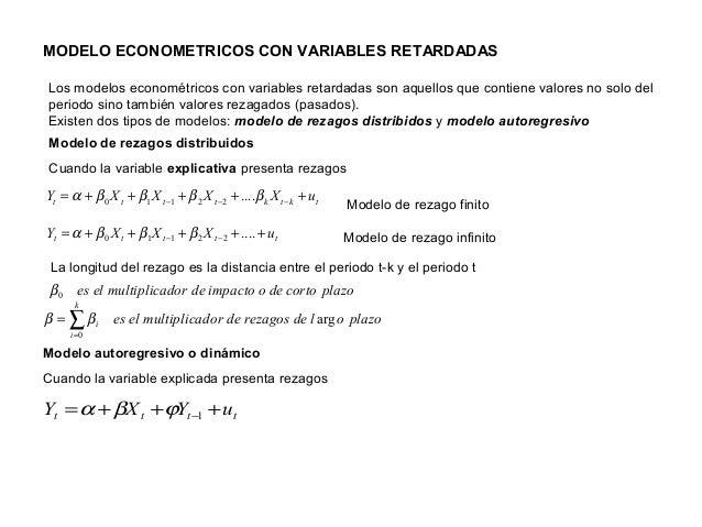 MODELO ECONOMETRICOS CON VARIABLES RETARDADAS tktktttt uXXXXY +++++= −−− ββββα ....22110 ttttt uXXXY +++++= −− ....22110 β...