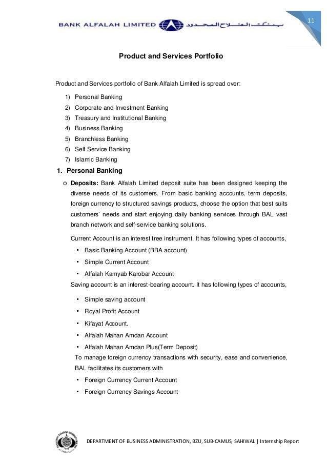 BANK ALFALAH INTERNSHIP REPORT PDF