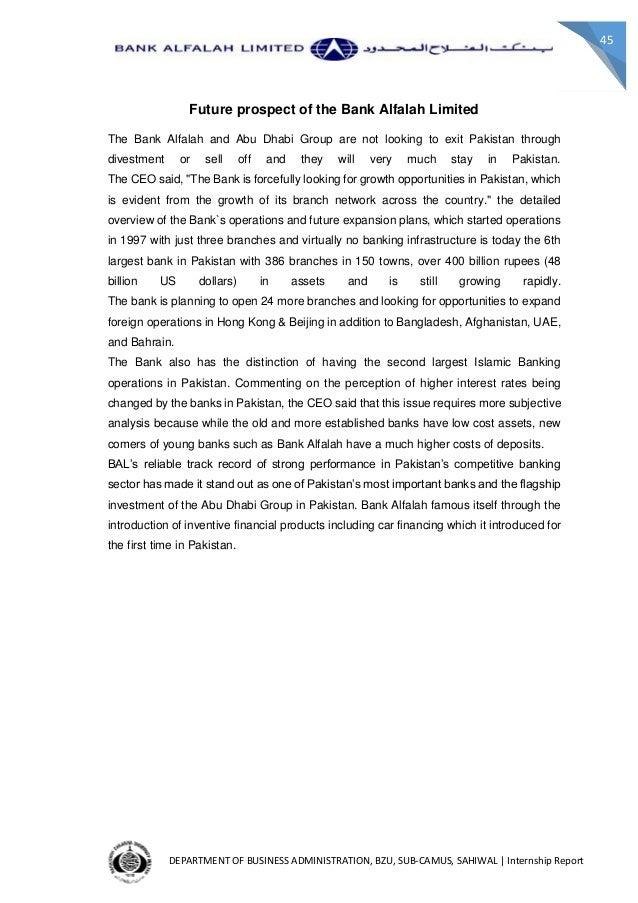 bank alfalah limited internship report