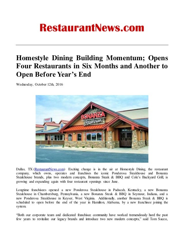 Homestyle Dining Building Momentum