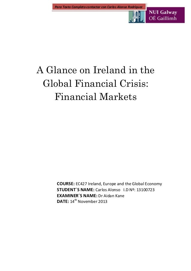 Global financial crisis essay papers
