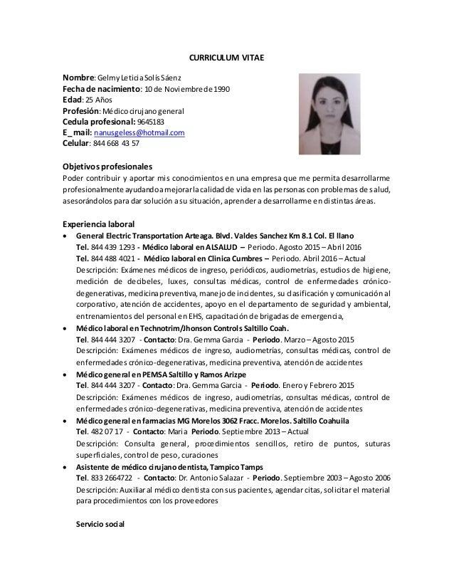 Curriculum Vitae Gelmy Saenz