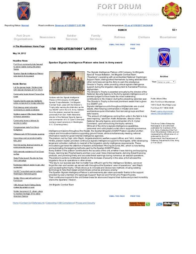 Fort Drum Website >> Fort Drum The Mountaineer Online