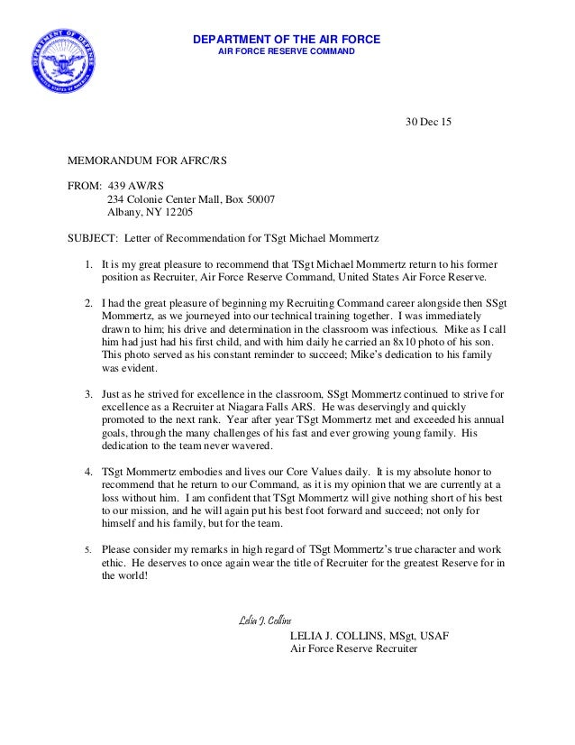 Jenny Collins   Letter Of Recommendation. 30 Dec 15 MEMORANDUM FOR AFRC/RS  FROM: 439 AW/RS 234 Colonie