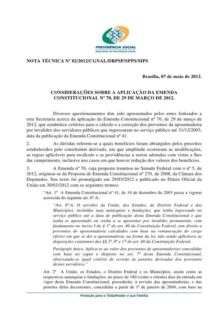 NOTA TÉCNICA Nº 02/2012/CGNAL/DRPSP/SPPS/MPS                                                               Brasília, 07 de...