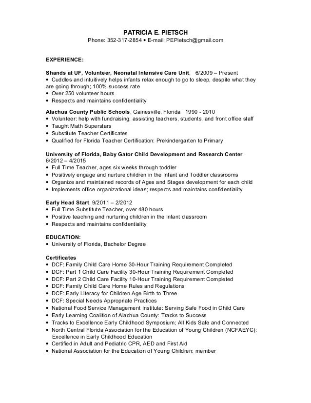 child care  nanny resume 2015