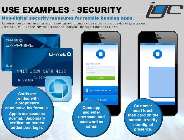 Non-digital security measures for mobile banking apps. Requires customers to enter username/password and swipe card on sma...