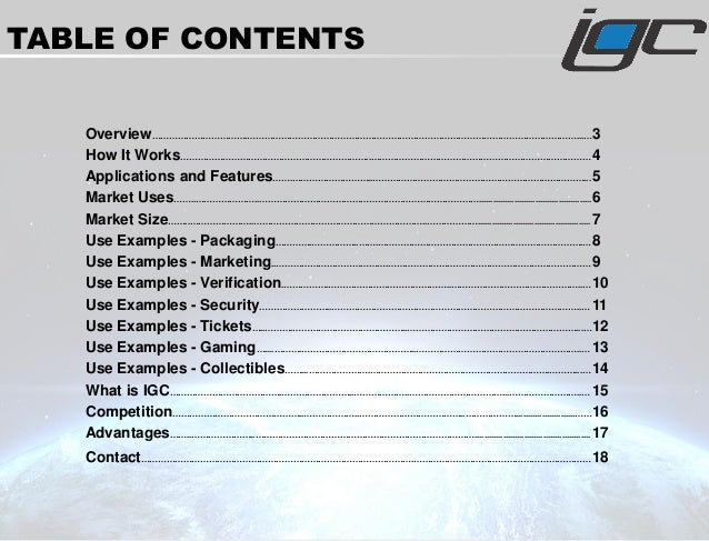 TABLE OF CONTENTS Overview…………………………….………………………………………………………………………………………………………...…3 How It Works…………………………………………………………..………...