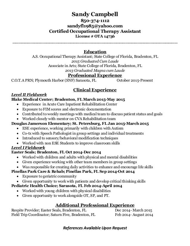 sandy campbell cota resume nov 2015
