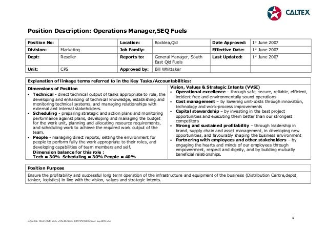 Position Description Operations Manager August 2007
