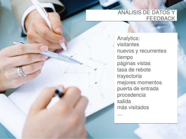 ANÁLISIS DE DATOS Y  FEEDBACK  Analytics:  visitantes  nuevos y recurrentes  tiempo  páginas vistas  tasa de rebote  traye...