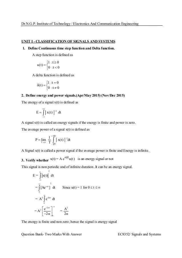 Ec8352 signals and systems 2 marks with answers