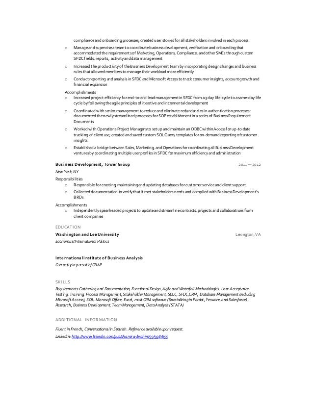 ... 2. Compliance ...  Salesforce Business Analyst Resume