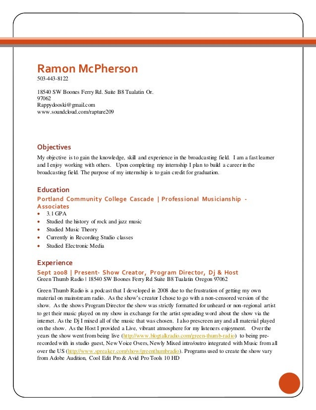 Ramon McPherson Internship Resume. Ramon McPherson 503 443 8122 18540 SW  Boones Ferry Rd. Suite B8 Tualatin ...