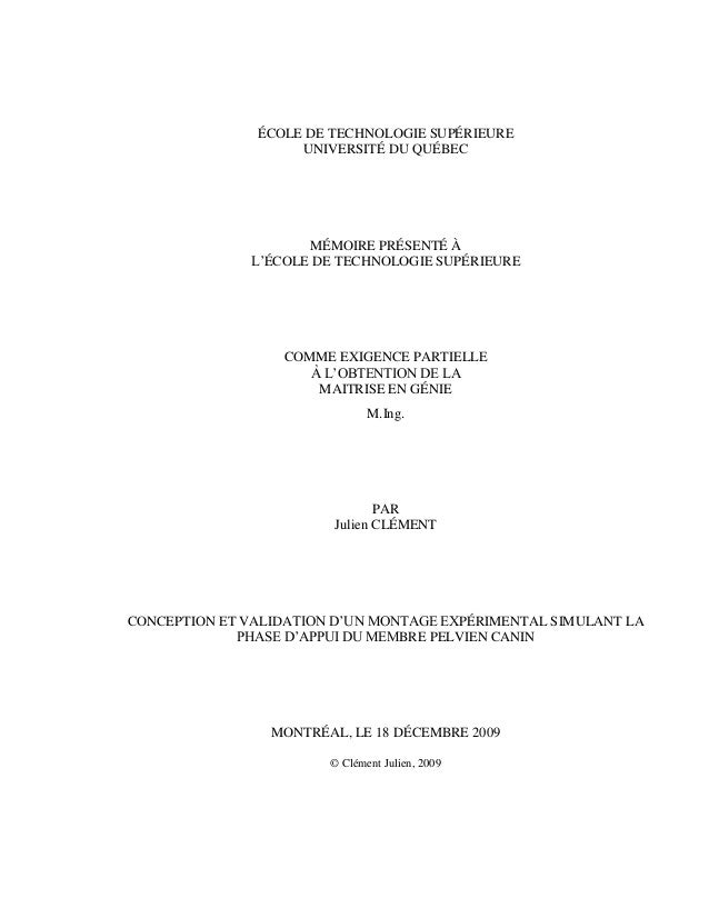 ÉCOLE DE TECHNOLOGIE SUPÉRIEURE UNIVERSITÉ DU QUÉBEC MÉMOIRE PRÉSENTÉ À L'ÉCOLE DE TECHNOLOGIE SUPÉRIEURE COMME EXIGENCE P...