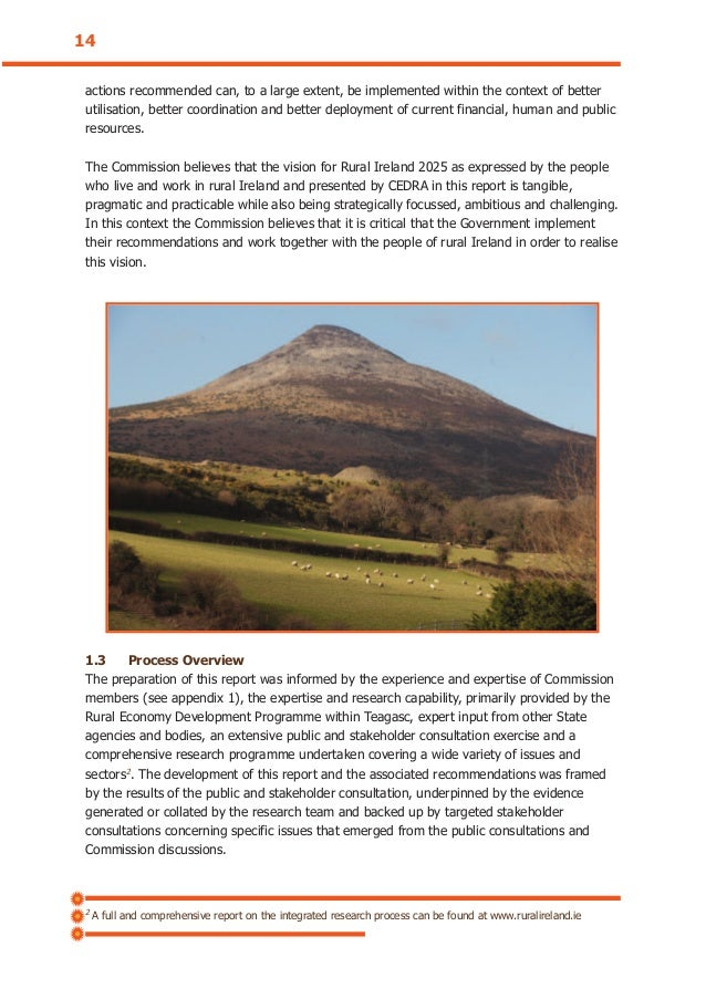 2 A full and comprehensive report on the integrated research process can be found at www.ruralireland.ie 14 actions recomm...