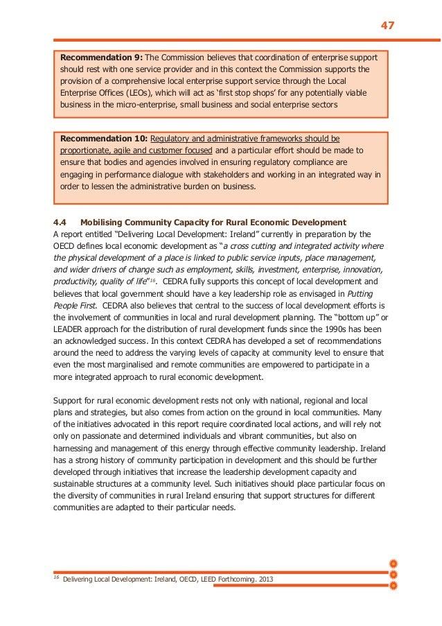 "4.4 Mobilising Community Capacity for Rural Economic Development A report entitled ""Delivering Local Development: Ireland""..."