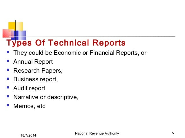 Types of technical reports ppt