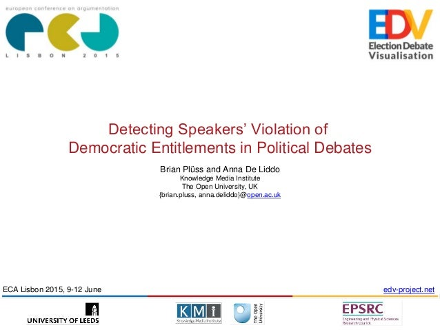 Detecting Speakers' Violation of Democratic Entitlements in Political Debates Brian Plüss and Anna De Liddo Knowledge Medi...