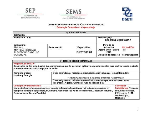 1 SUBSECRETARIADE EDUCACIÓN MEDIASUPERIOR Estrategia Centrada en el Aprendizaje B) INTENCIONES FORMATIVAS Propósito de la ...
