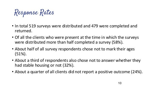 Response Rates • In total 519 surveys were distributed and 479 were completed and returned. • Of all the clients who were ...