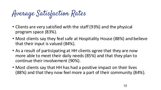 Average Satisfaction Rates • Clients are very satisfied with the staff (93%) and the physical program space (83%). • Most ...