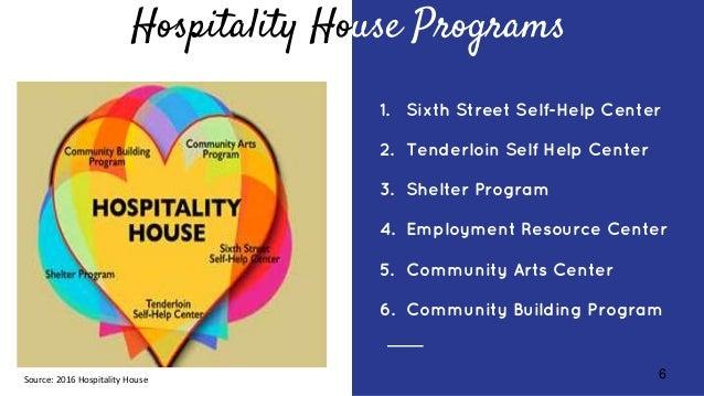 6 Hospitality House Programs 1. Sixth Street Self-Help Center 2. Tenderloin Self Help Center 3. Shelter Program 4. Employm...
