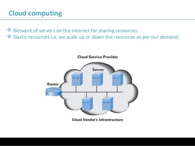 Cloud computing  Network of servers on the Internet for sharing resources.  Elastic resources i.e. we scale up or down t...