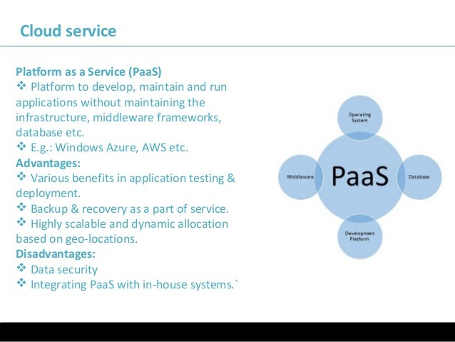 11/05/16 Cloud service Platform as a Service (PaaS)  Platform to develop, maintain and run applications without maintaini...