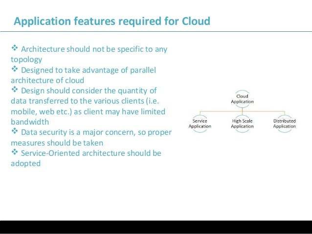 11/05/16 Application features required for Cloud  Architecture should not be specific to any topology  Designed to take ...