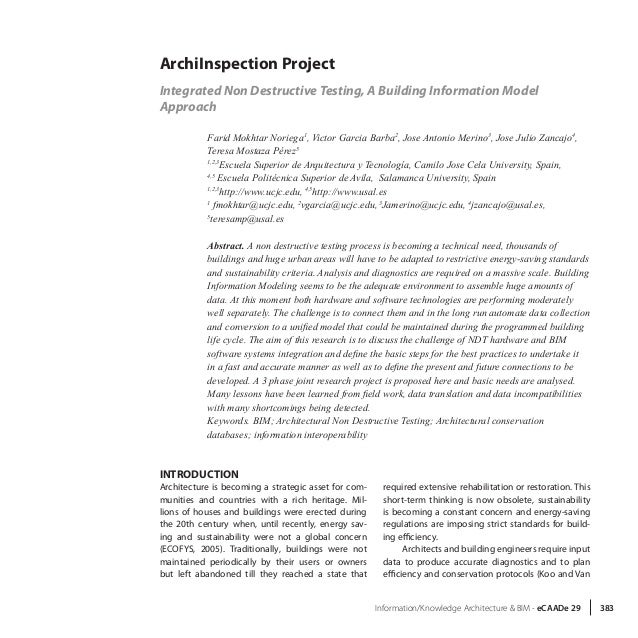 Information/Knowledge Architecture & BIM - eCAADe 29 383 ArchiInspection Project Integrated Non Destructive Testing, A Bui...