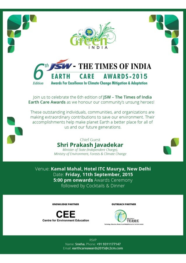 """7 - THE TIMES OF INDIA EARTH CARE AWARDS-2015  Edition Awards For Excellence In Climate Change Mitigation 8. Adaptation  ..."